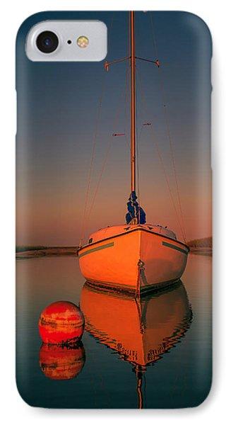 Red Sunrise Reflections On Sailboat Phone Case by Dapixara Art