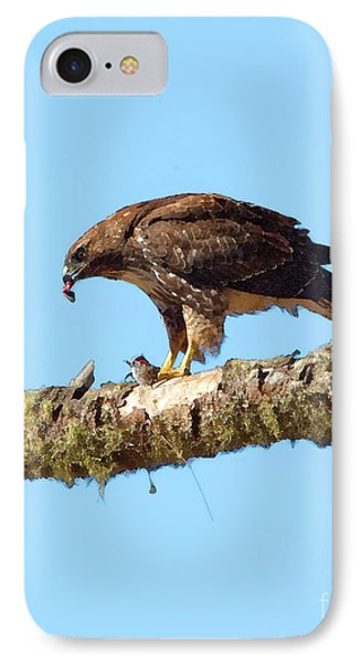 Red-tailed Hawk With Prey IPhone Case by Betty LaRue