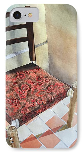 Red Tapestry Chair IPhone Case by Cathy Klopfenstein