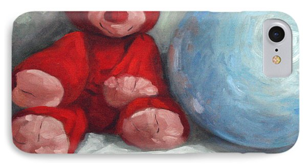 Red Teddy And A Blue Ball Phone Case by William Noonan