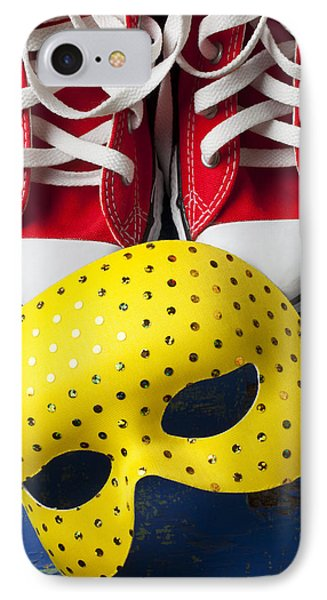 Red Tennis Shoes And Mask Phone Case by Garry Gay