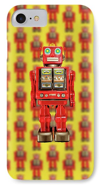 Red Tin Toy Robot Pattern IPhone Case by YoPedro