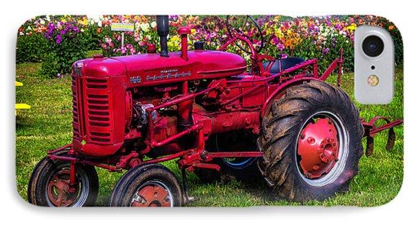 Red Tractor Dahlia Gardens IPhone Case