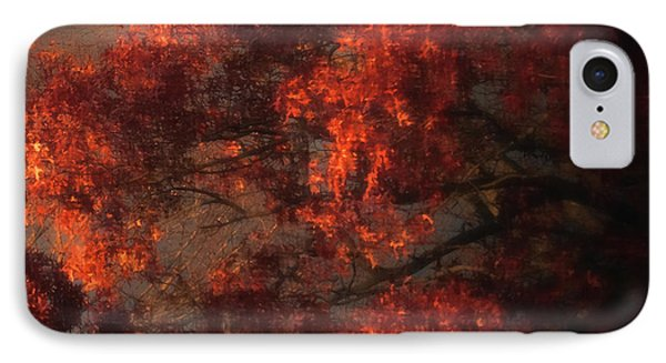 Red Tree Scene IPhone Case by Mikki Cucuzzo