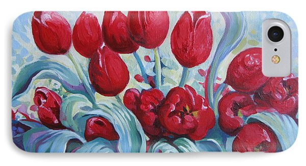 IPhone Case featuring the painting Red Tulips by Elena Oleniuc