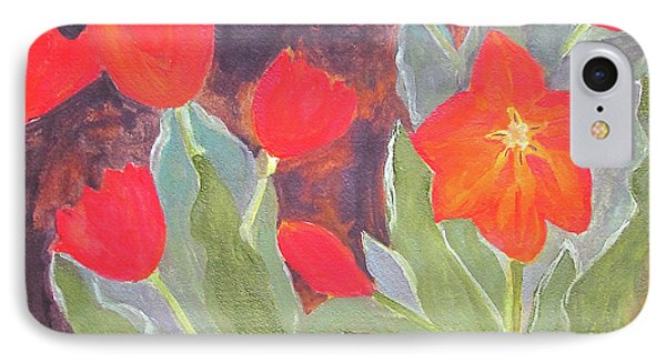 IPhone Case featuring the painting Red Tulips by Sandy McIntire