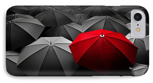Red Umbrella Stand Out From The Crowd Of Many Black And White Umbrellas IPhone Case by Michal Bednarek
