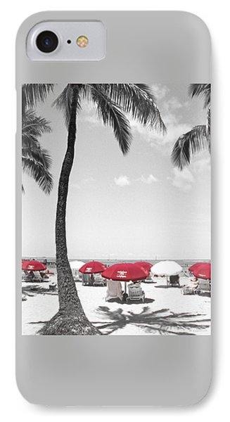 IPhone Case featuring the photograph Red Umbrellas On Waikiki Beach Hawaii by Kerri Ligatich