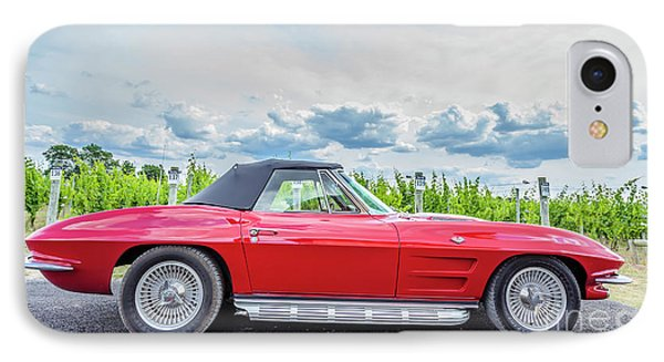 Red Vintage Corvette Sting Ray Vineyard IPhone Case by Edward Fielding