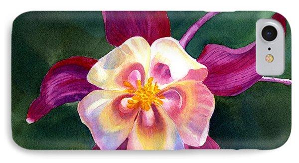 Red Violet Columbine Blossom Square Design IPhone Case
