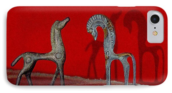 IPhone Case featuring the digital art Red Wall Horse Statues by Jana Russon