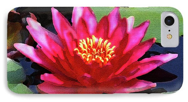 Red Water Lily - Palette Knife IPhone Case by Lou Ford