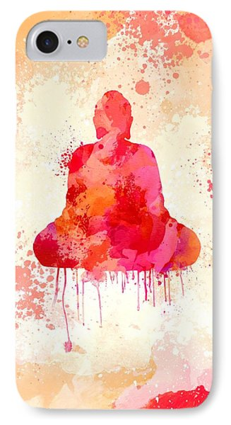 Red Watercolor Buddha Paining IPhone Case by Thubakabra
