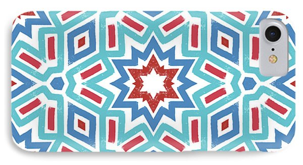 Red White And Blue Fireworks Pattern- Art By Linda Woods IPhone 7 Case by Linda Woods