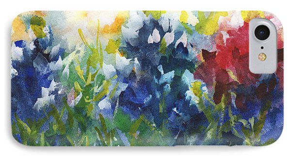 Red White And Bluebonnets Watercolor Painting By Kmcelwaine IPhone Case by Kathleen McElwaine