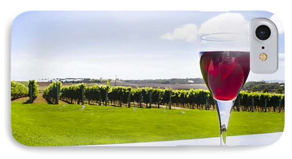 Red Wine Glass At Tasmania Countryside Winery IPhone Case by Jorgo Photography - Wall Art Gallery