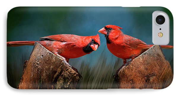 IPhone Case featuring the photograph Redbird Sentinels by Bonnie Barry