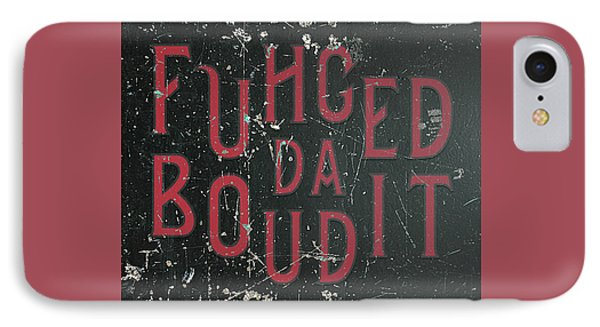 IPhone Case featuring the digital art Redblack Fuhgeddaboudit by Megan Dirsa-DuBois