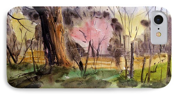 IPhone Case featuring the painting Redbuds And Morels Matted Glassed Framed by Charlie Spear