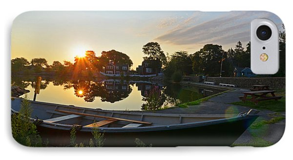 Redd's Pond Row Boat At Sunrise Marblehead Ma IPhone Case by Toby McGuire