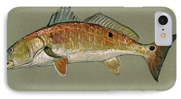 Redfish Watercolor Painting IPhone 7 Case by Juan  Bosco
