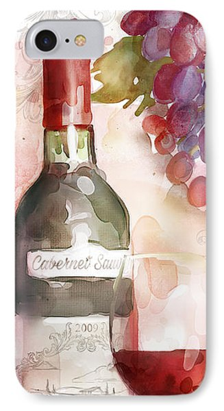 Redwinewatercolor IPhone Case by Mauro DeVereaux
