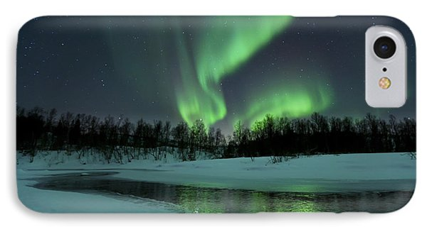 Landscapes iPhone 7 Case - Reflected Aurora Over A Frozen Laksa by Arild Heitmann