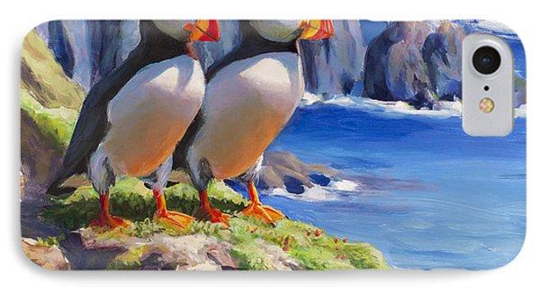 Reflecting - Horned Puffins - Coastal Alaska Landscape IPhone 7 Case
