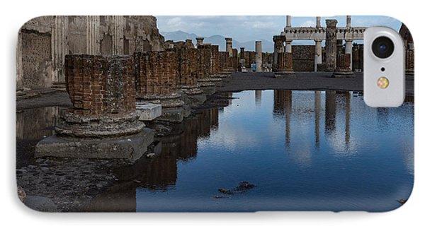 Reflecting On Ancient Pompeii - The Giant Rain Puddle View IPhone Case by Georgia Mizuleva