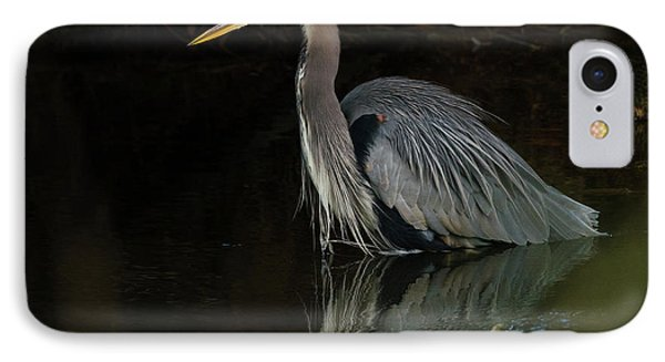 Reflection Of A Heron IPhone Case by George Randy Bass