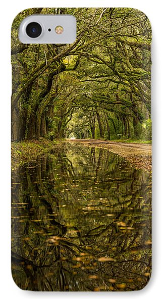 Reflection Of Live Oaks  IPhone Case by Serge Skiba