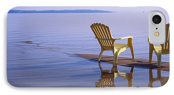 Reflection Of Two Adirondack Chairs IPhone Case by Panoramic Images