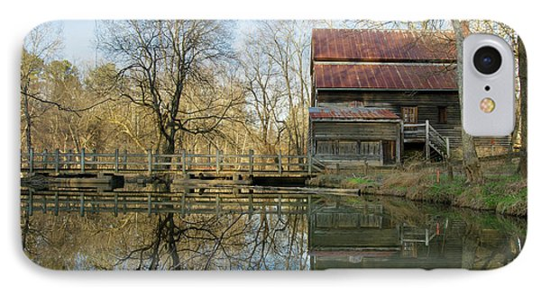Reflection On A Grist Mill IPhone Case by George Randy Bass