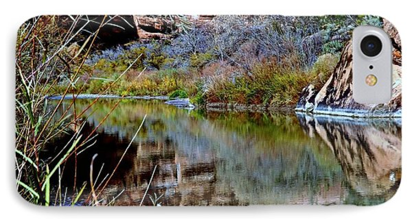 Reflections In Desert River Canyon Phone Case by Annie Gibbons