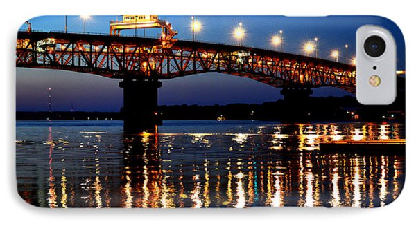 Reflections Of The Coleman Bridge IPhone Case by Nancy Comley