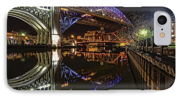 Reflections Of Veterans Memorial Bridge  IPhone Case by Brent Durken