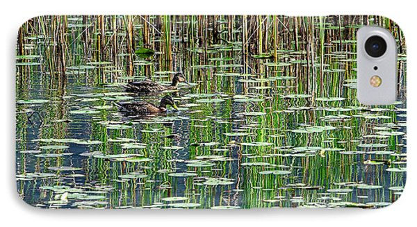 Reflections On Duck Pond Phone Case by Sharon Talson