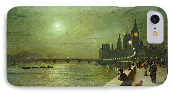 Reflections On The Thames IPhone 7 Case by John Atkinson Grimshaw