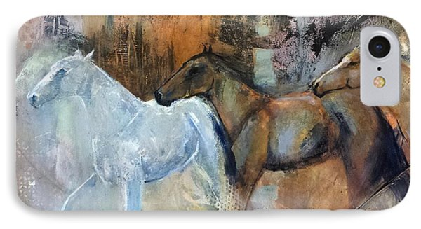 IPhone Case featuring the painting Reflextion Of The White Horse by Frances Marino