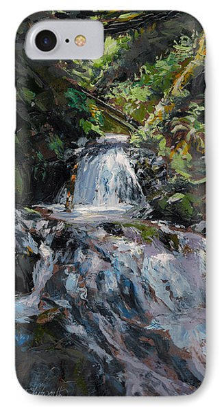 IPhone Case featuring the painting Refreshed - Rainforest Waterfall Impressionistic Painting by Karen Whitworth