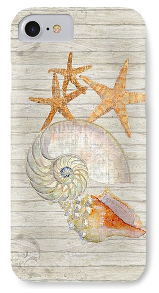 Refreshing Shores - Lighthouse Starfish Nautilus N Conch Over Driftwood Background IPhone Case by Audrey Jeanne Roberts