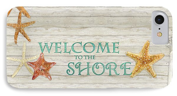 Refreshing Shores - Welcome To The Shore Lighthouse IPhone Case by Audrey Jeanne Roberts