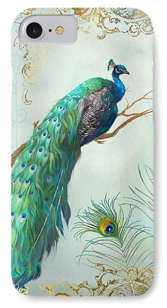 Regal Peacock 1 On Tree Branch W Feathers Gold Leaf IPhone 7 Case by Audrey Jeanne Roberts