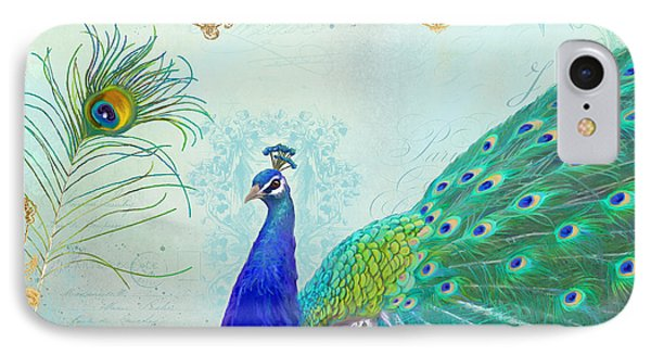 Regal Peacock 2 W Feather N Gold Leaf French Style IPhone Case