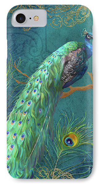 Peacock iPhone 7 Case - Regal Peacock 3 Midnight by Audrey Jeanne Roberts