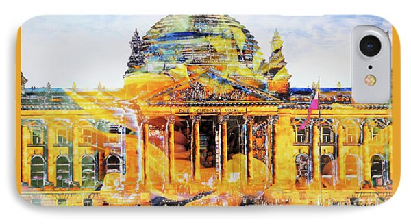 Reichstag And Flower IPhone Case by Nica Art Studio
