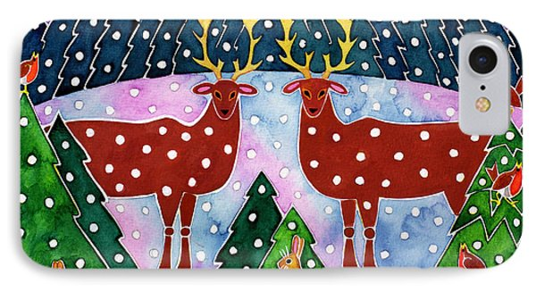 Reindeer And Rabbits IPhone Case by Cathy Baxter