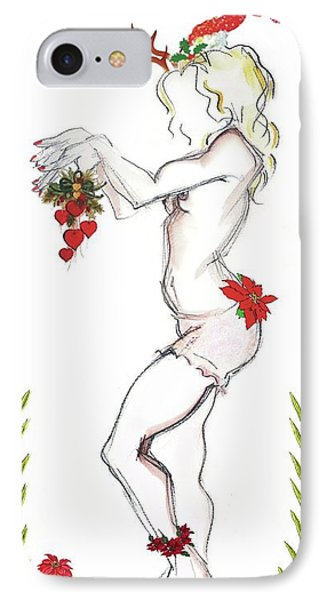 IPhone Case featuring the digital art Reindeer Cupid II - Christmas Cards by Carolyn Weltman