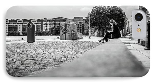 Relax In The City - Dublin, Ireland - Black And White Street Photography IPhone Case