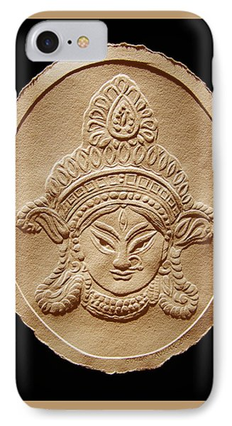 Relief Drawing Of Goddess Durga Devi  IPhone Case by Suhas Tavkar